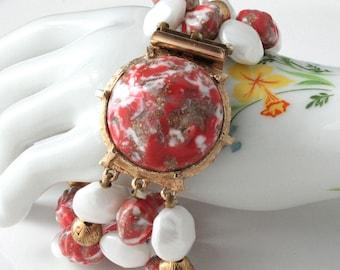Vintage Multi Strand Bracelet , Coral and White Color Beads, TheKeepDrawer