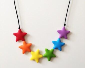 Silicone teething necklace, jewellery, nursing, baby shower gift, sensory toy, breastfeeding, baby wearing, mum gift, rainbow, stars