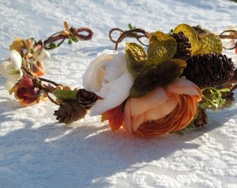 Autumn brides wreath, fall floral crown, burnt orange and gold hair wreath, harvest halo, gold and green hair crown, fall colors for hair