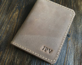 Personalized Bifold Leather Wallet, Men's Wallet, Minimalist Leather Wallet, Slim Leather Wallet, Front Pocket Wallet, Sand Brown