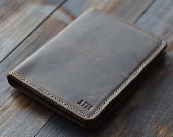 Personalized Leather Passport Wallet, Distressed Leather Travel Wallet, Passport Holder, Leather Passport Cover, Chestnut Brown