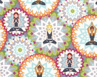 Namaste Fabric, Yoga Fabric, Michael Miller Fabric, Namaste Happy Mandala Lotus 100% cotton woven,