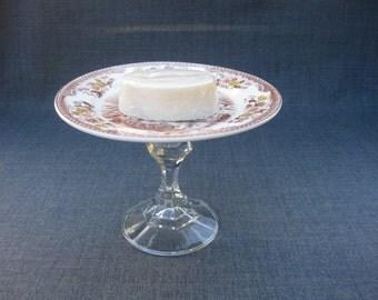 Repurposed Handcrafted Pedestal Soap Trinket Dish Vintage Antique Lighthouse Plate