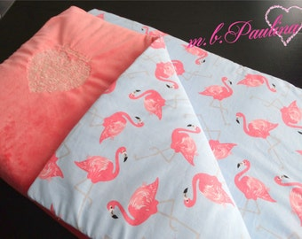 Flamingo baby blanket, personalization possible