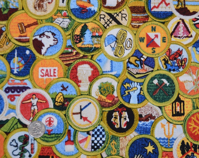 Robert Kaufman Registered Boy Scout Merit Badge Print 100% Kona Cotton - RARE