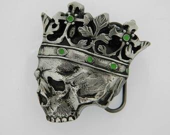 Dead Skeleton King Crown of Jewels Evil Satan Horror Death Belt Buckle