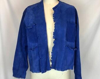 Gilles Ricart // Blue Suede Fringe Jacket