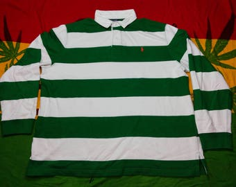 Vintage Polo by Ralph Lauren Rugby Collar Long Sleeve Shirt Horizontal Green Stripe Small Embroidery Polo Extra Size