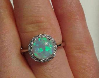 Silver Opal Ring CZ
