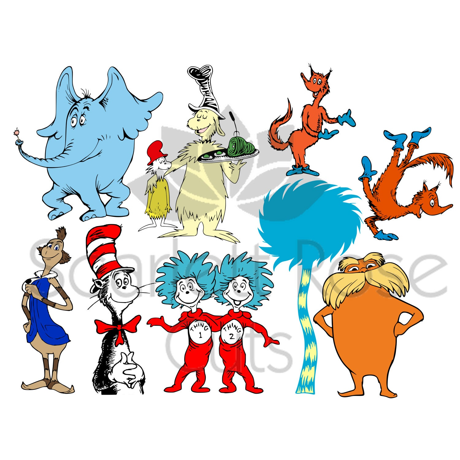 Cat In The Hat Characters: The Cat In The Hat Svg Dr.Seuss Characters Set By