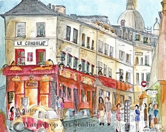Watercolor Print; French cafe; French scenery art; unique art print; original, colorful wall decor; Paris inspired art; watercolor painting
