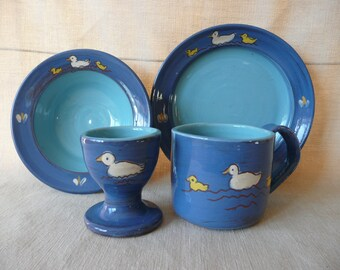 Child's breakfast set. Nursery set. Handmade and painted pottery. Ideal Christening gift, can be personalised.