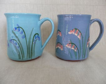 Handmade pottery bluebell/pinkbells mugs in light blue and turquoise