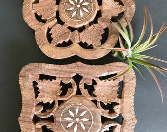 Set of 2 vintage carved wood trivets with inlay