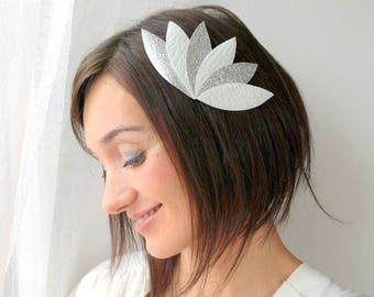 Bridal headpiece, leaf wedding headpiece, silver and white bridal headpiece, leaf bridal headpiece, bridal hair jewel, wedding hair jewelry