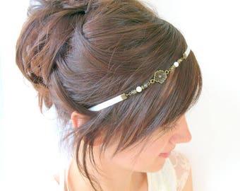 Bridal headpiece, boho wedding headpiece, vintage tiara, bridal headband, wedding headband, flower headpiece, boho headpiece for the bride