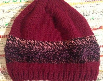 Hand Knitted Burgundy Hat