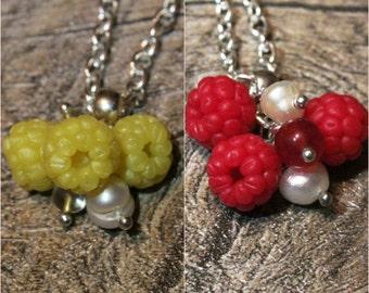 Raspberry pendant, red and yellow raspberry pendant, botanical jewelry, berries jewelry, food jewelry, handmade raspberries, berry necklace