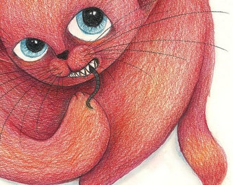 Red cat - original Illustration