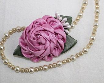 Pink Kanzashi Ribbon Rose Wedding Hair Clip Flower Girl Bridal Satin Fabric Flower Hairpiece Ribbonwork Woodland Garden High Tea