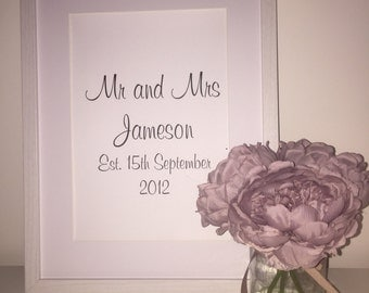 Mr & Mrs Custom Foil Print