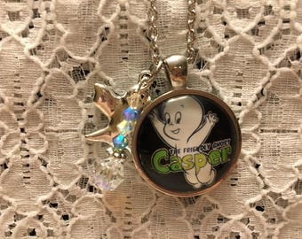 Casper the Friendly Ghost Charm Necklace/Casper the Friendly Ghost/Ghost Jewelry/Casper Jewelry/Casper Pendant