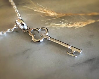 Key Necklace, Sterling Silver Key Pendant, Silver Necklace, Key To My Heart Necklace, Key Jewelry, Silver Key, Cable Chain, JP0024