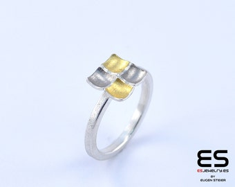 Ring silver 925, 24k gold and 18k white gold Mozaiku collection Keum Boo / Kum Boo ES Jewelry square shaped