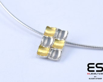 Pendant silver 925  and 24k gold 18k  white gold Mozaiku collection Keum Boo / Kum Boo ES Jewelry rectangular