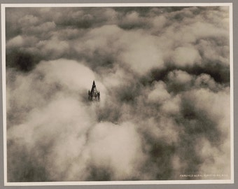 Black an White Fine Art Photography-Woolworth tower in clouds, New York City-1928 - Vintage Reproduction