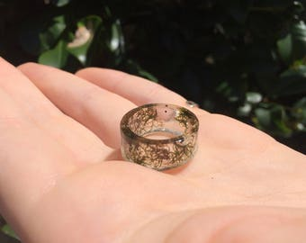 Moss Nature Resin Ring