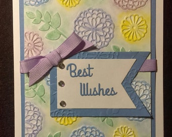 Handmade blank embossed chalk card with envelope. Choose your own sentiment.