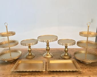 Gold Cake Stand Etsy