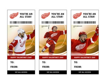 Detroit Red Wings Hockey Valentine's Day Card Ticket Printable Instant Download
