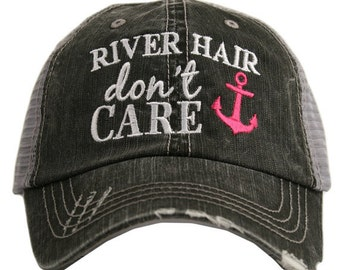 River Hair Don't Care Trucker Hat ~ River Hair Don't Care Hat ~ Anchor Hat ~ Super Cute