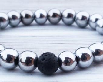 Hematite Bracelet Black Lava Bracelet Mens Bracelet Mens Gifts Fathers Gifts Boyfriends Gifts Anniversary Gifts For Him Positive Energy