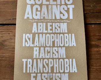 QUEERS AGAINST... Letterpress Print (white on brown)
