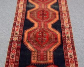 Shiraz persian runner rug, vintage, Handmade, wool, home decor,  rose red, navy blue, daffodil yellow, pink, black, brown colors carpet.