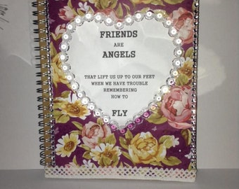 Give a quirky gift friends are angels that lift us up when we have trouble remembering how to fly  journal / notebook