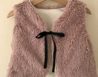 Beautiful faux fur children's gilet vest/  baby toddler faux fur gilet vest