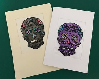 Hand Painted Silk Sugar Skull Card