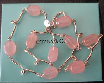 Genuine vintage Tiffany & Co necklace - rose quartz sterling silver