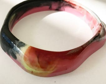 Resin Geometric Bangle - Deep Purple and Yellow