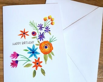 Hand Painted Bright Floral - Happy Birthday Card