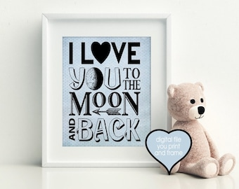 i love you to the moon and back boys room arrow wall decor digital download you print nursery digital print you print and frame