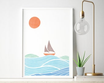 Ocean Sail Boat, Blue Orange, Sail Boat Art, A4 print, Retro Illustration, Bathroom Wall Art, Modern Art, Home Decor
