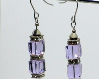 //Cristal swarovski earrings / / Amethyst //vintage//fait hand / / //crystal //earring vintage swarovski Amethyst / / handmade
