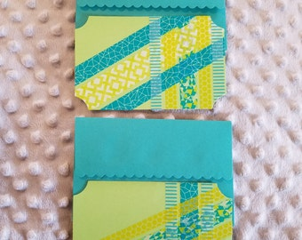 Set of 2 coordinating washi tape flat note cards with matching envelopes- blue green