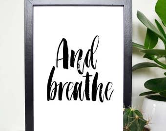AND BREATHEHome Decor Inhale Exhale Print Yoga Wall Art Prints