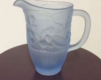 Ice Blue Frosted Satin Glass Pitcher, Vintage Glass, Vintage Pitchers, Blue Glass, Collectibles Glass, Frosted Satin Glass